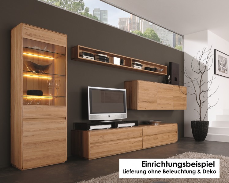 wohnwand wohnzimmerwand wohnzimmer vitrine h ngeschrank kernbuche massiv ge lt wohnzimmer. Black Bedroom Furniture Sets. Home Design Ideas