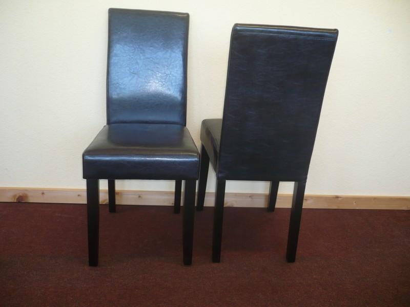 Polsterstuhl Esszimmerstuhl Stuhlset Stuhl 2er Set Kunstleder Braun Beine  Braun