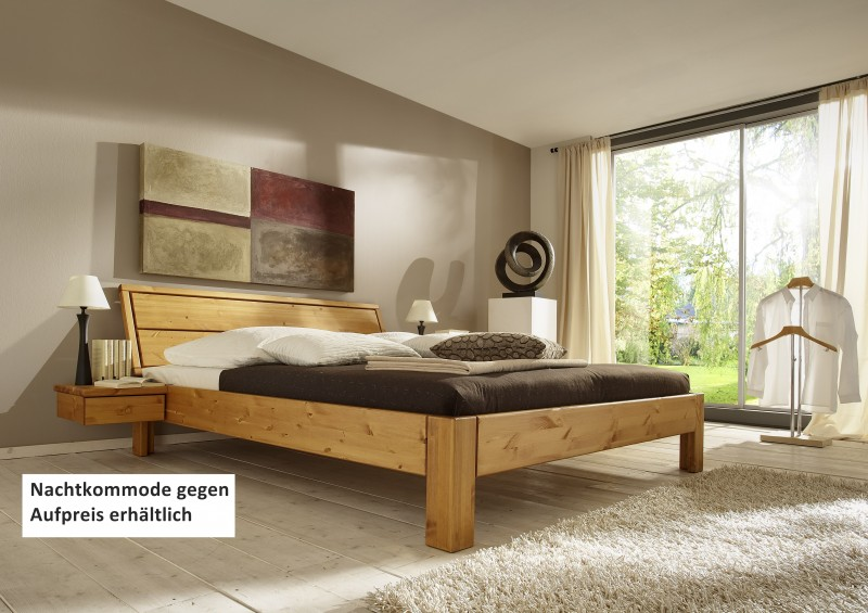 Bett Systembett Schlafzimmer Kiefer massiv gelaugt geölt Überlänge ...