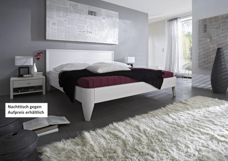 Bett Ehebett Überlänge Kiefer massiv weiß lackiert vielfältige ...