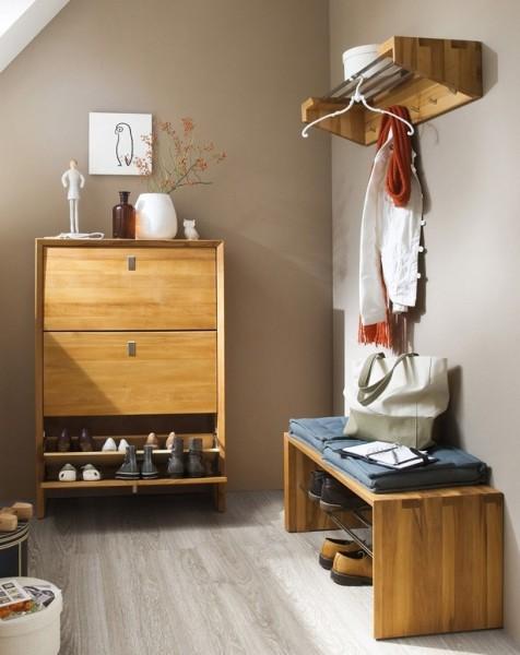 dielenset garderobenset garderobe diele kernbuche massiv ge lt bank schuhschrank flur garderobe. Black Bedroom Furniture Sets. Home Design Ideas