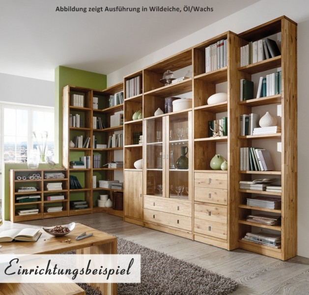 b cherregal wohnwand wohnsystem wildeiche white wash kernbuche massiv ge lt b ro arbeitszimmer. Black Bedroom Furniture Sets. Home Design Ideas