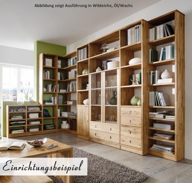 b cherregal wohnwand wohnsystem wildeiche white wash kernbuche massiv ge lt b ro arbeitszimmer. Black Bedroom Furniture Sets. Home Design Ideas