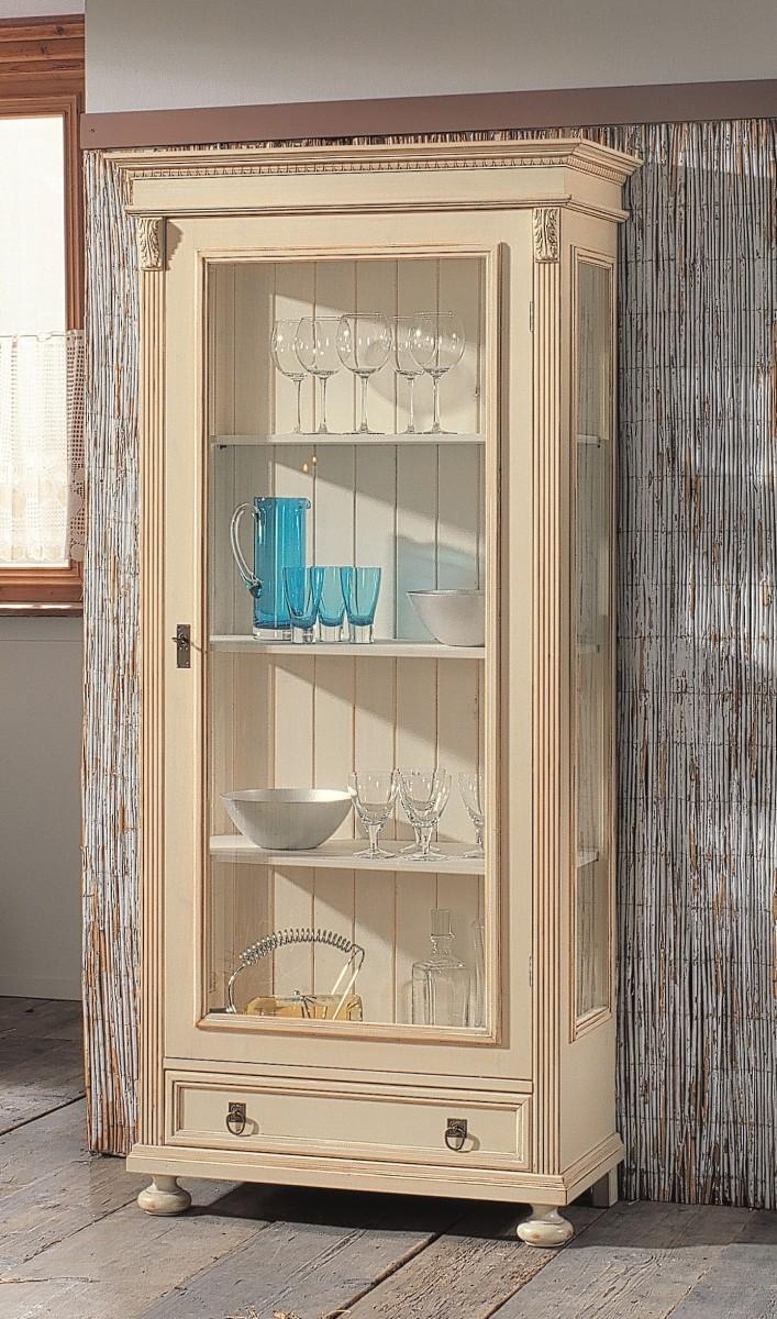 vitrine vitrinenschrank regal fichte massiv wei shabby landhaus vintage patina esszimmer. Black Bedroom Furniture Sets. Home Design Ideas
