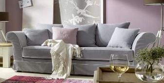 sofa couch 25 sitzer lichtgrau mit keder reinigungsfhig romantisch landhaus - Sofa Landhaus