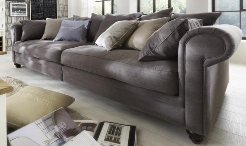 Sofa 4 Sitzig Couch Textilsofa Polstersofa Romantik Wohnzimmer