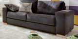 Leder-Garnitur Sofa Couch 2,5 Sitzer Leder schwarz Longchair Kontrastnaht