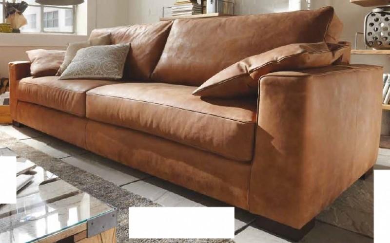 Sofa 4 Sitz Ledersofa Couch Walnuss Leder Anilinleder Naturbelassen