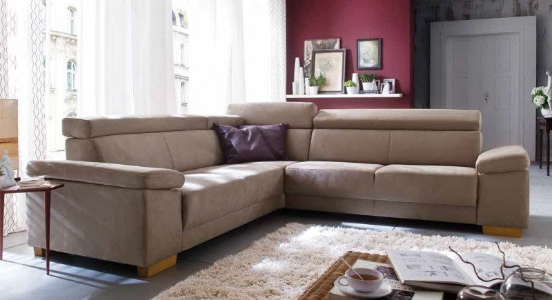Polsterecke Couch Sofa Polstersofa Dunkel Beige Textilsofa Erle
