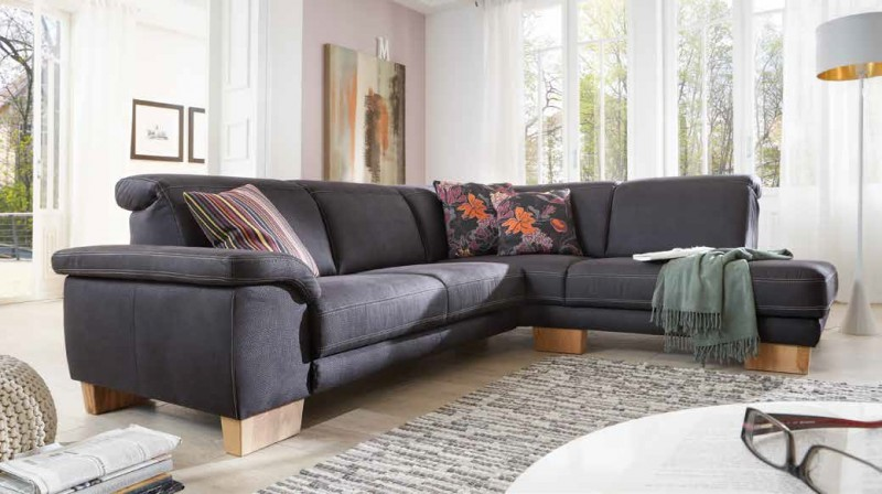 polsterecke couch sofa ecksofa stoff schwarz textilsofa holzf e wohnzimmer polsterm bel sofa couch. Black Bedroom Furniture Sets. Home Design Ideas
