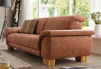 Couch Sofa 2 5 Sitzer Large Textilsofa Stoff Braun Holzfusse