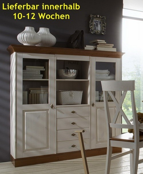 Highboard Vertiko Vitrine 2 Türig Landhausstil Kiefer Massiv