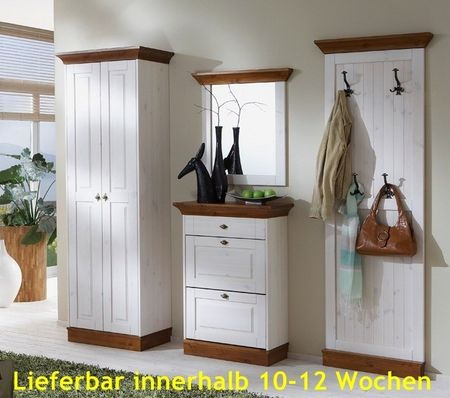 garderoben set diele flurgarderobe 4 teilig landhausstil kiefer massiv flur garderobe garderobensets. Black Bedroom Furniture Sets. Home Design Ideas
