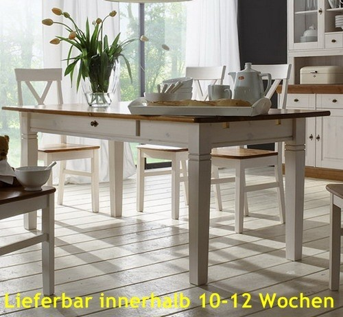esstisch esszimmertisch tisch 180x90 cm landhausstil kiefer massiv esszimmer tische 160 200 cm. Black Bedroom Furniture Sets. Home Design Ideas