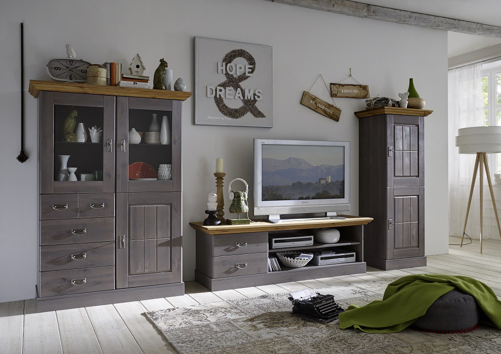 wohnwand tv wand wohnzimmer set vitrine schrank tv board. Black Bedroom Furniture Sets. Home Design Ideas