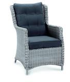 Stuhl Sessel Gartensessel Lounge Geflecht Rattanoptik grau hohe Rückenlehne