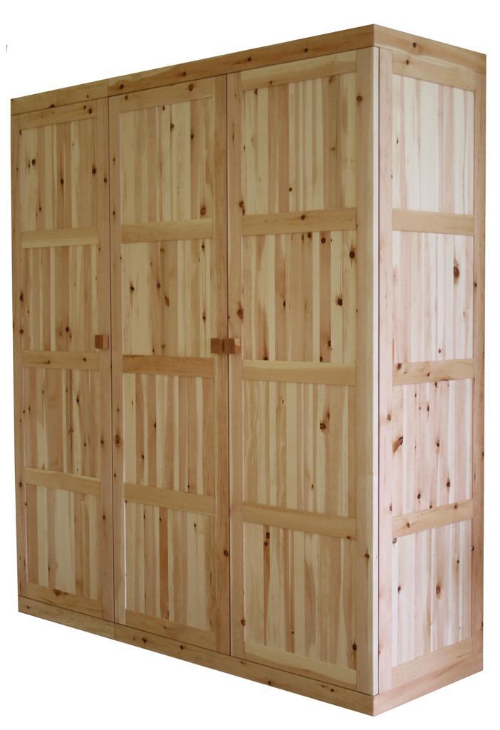 Kleiderschrank 3 t rig metallfrei zirbe vollholz for Schrank vollholz