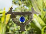 Windspiel Edelstahl Glas 3D Optik Vogel Deko Innen Außen Hängevorrichtung