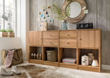 Regalkombination Regal mit Türen Sideboard Anrichte Highboard Wildeiche massiv
