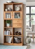 Regalkombination Wildeiche massiv Bücherregal mit Türen Schubladen Aufbewahrung