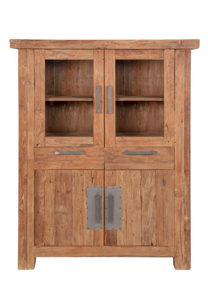 Highboard Sideboard recyceltes Teak Kommode Geschirrschrank Vintage kolonial