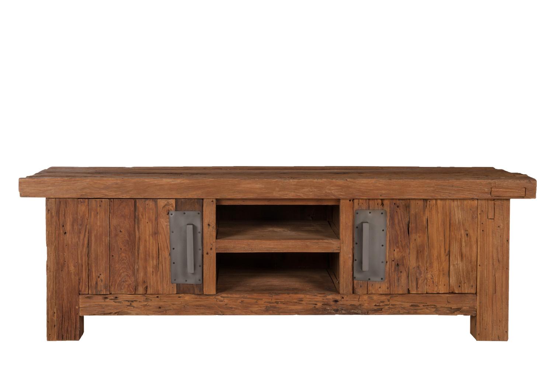 Teakholz möbel wohnzimmer  Lowboard groß TV-Kommode TV-Schrank TV-Tisch recyceltes Teakholz ...