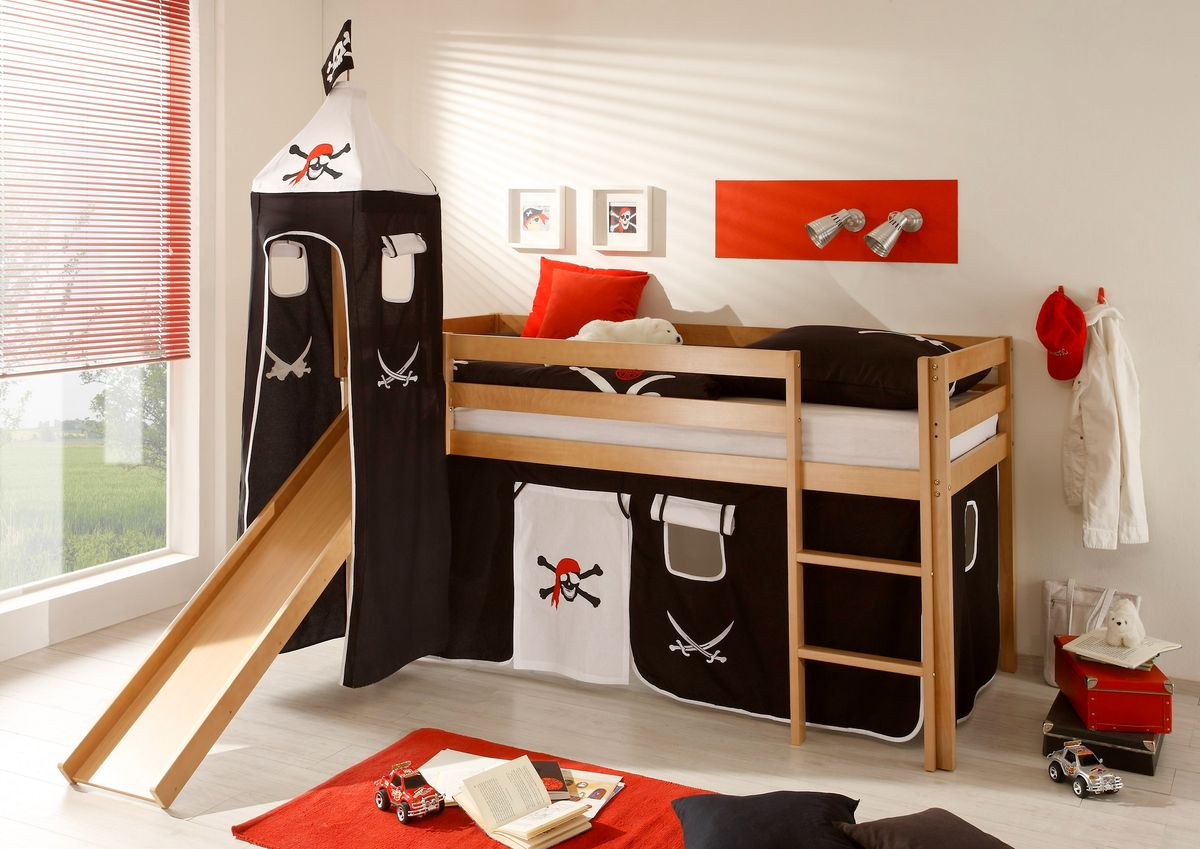 hochbett kinderbett bett etagenbett rutsche turm vorhang. Black Bedroom Furniture Sets. Home Design Ideas
