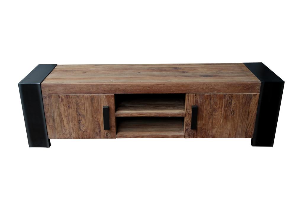Teakholz möbel wohnzimmer  Lowboard TV-Tisch Fernsehschrank recyceltes Teakholz TV-Kommode ...