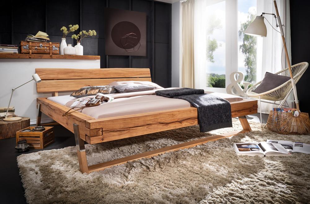 Balkenbett Doppelbett Holz Edelstahl vollmassiv Wildbuche 180x200cm modern