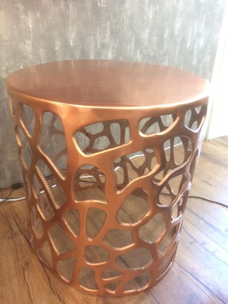 Beistelltisch Hocker Design modern Tisch Metall kupferfarben  AUSTELLUNGSSTÜCK