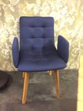 Sessel Polsterstuhl dunkelblau Stuhl Set Schalenstuhl Eiche geölt Vierfußstuhl