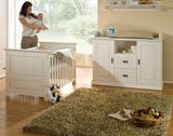 Babyzimmer 3tlg.Babybett Kinderbett Bettseiten Wickelkommode Kiefer massiv weiß