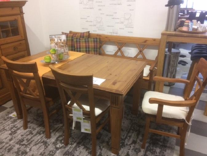 Tischgruppe Tisch Platte Bank Klappe Stühle Esstisch Kiefer AUSSTELLUNGSSTÜCK