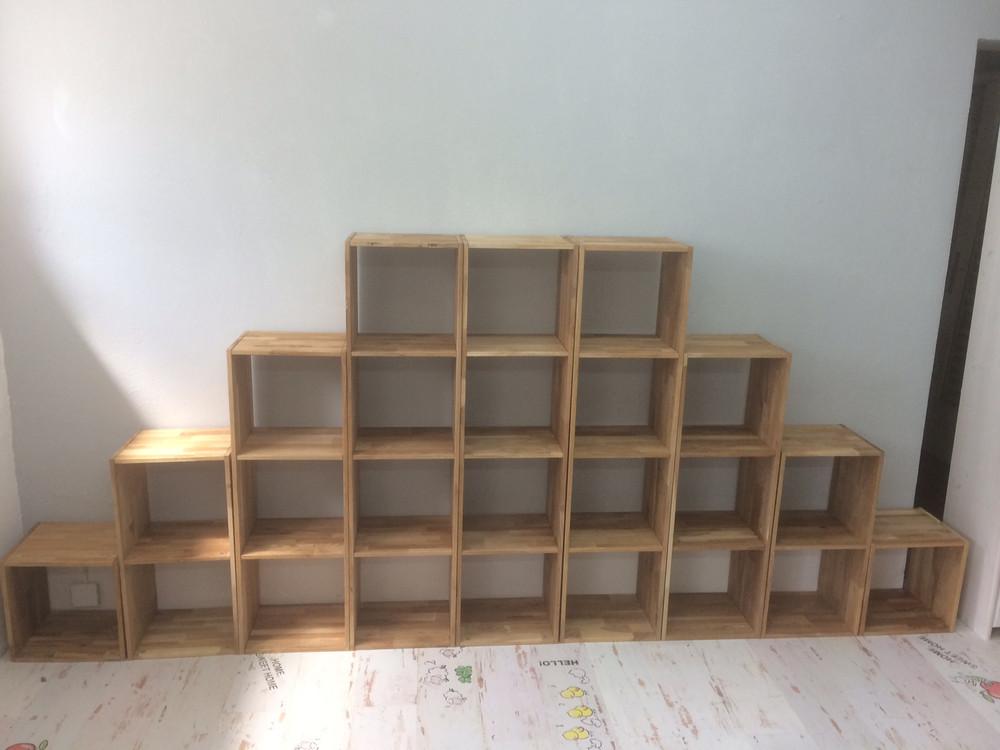 Cube Regal-Set Bücherregal Standregal Holzregal Eiche massiv Wohnwand Würfel