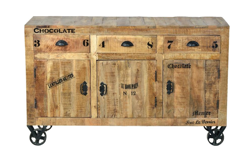 RUSTIC Sideboard Lackiertes Mangoholz Natur