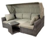 Funktions-Lounge-Set 5-teilig Rattan Grau
