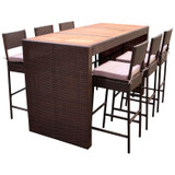Bar-Set 7-teilig Rattan Mocca