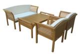 Lounge-Set 4-teilig Eukalyptus Braun
