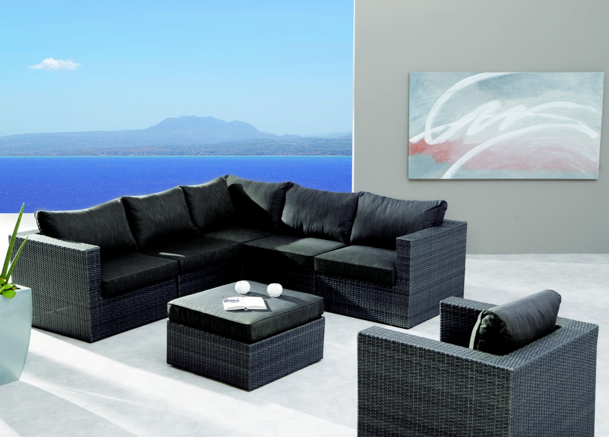 Loungemöbel outdoor schwarz  Loungegruppe Sitzgruppe Lounge Set Sofa Sessel Gartengruppe ...
