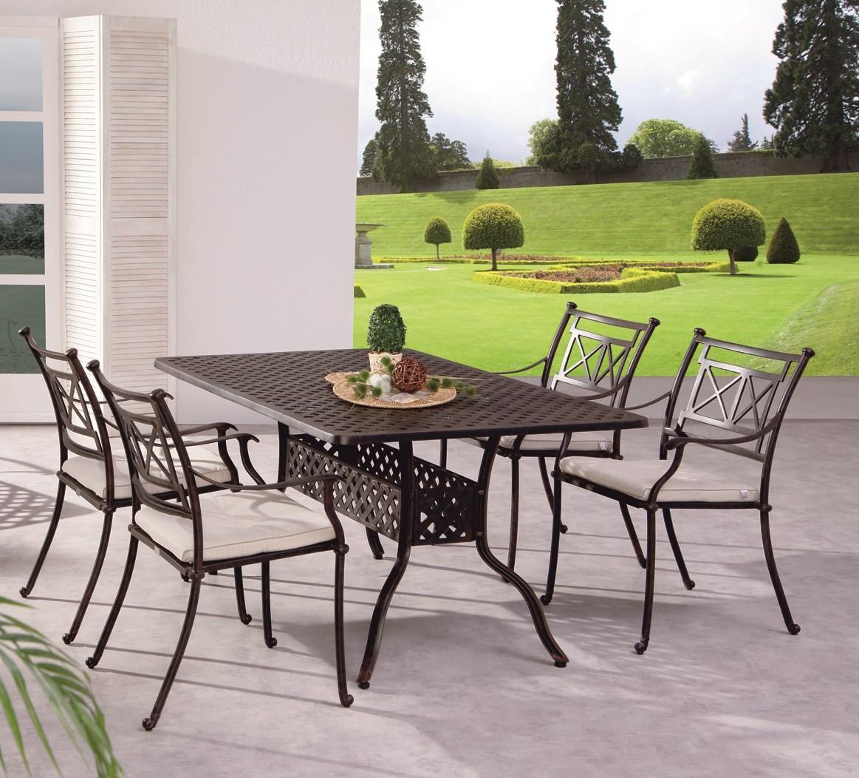 Gartengruppe Garten Set Tisch 4 Stühle Alu Guss massiv bronze weiß ...
