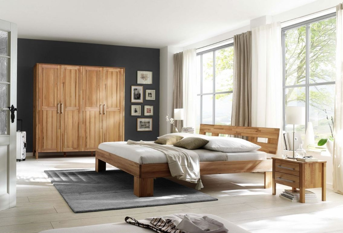 schlafzimmer komplett set kernbuche massiv ge lt kleiderschrank bett modern schlafzimmer. Black Bedroom Furniture Sets. Home Design Ideas