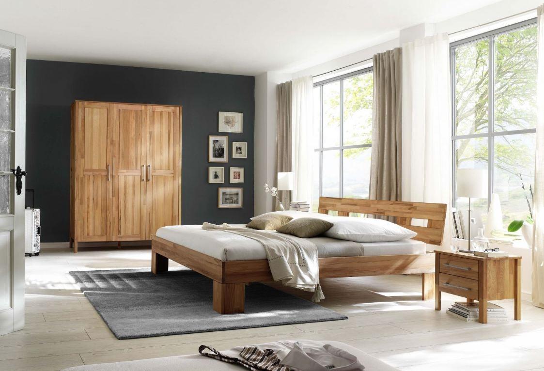 Schlafzimmer Komplett Set in massiver Kernbuche geölt 3-trg Schrank ...