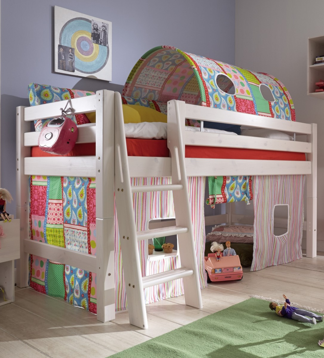 Bevorzugt Kinderbett halbhohes Bett teilbar Textiltunnel Vorhang Kiefer NO88