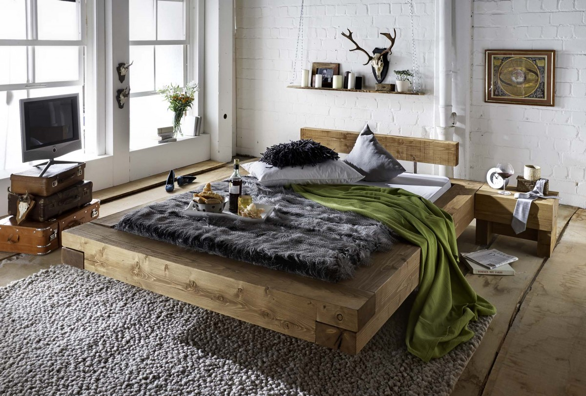 bett doppelbett balken bett kiefer fichte massiv altholz gewachst rustikal ebay. Black Bedroom Furniture Sets. Home Design Ideas