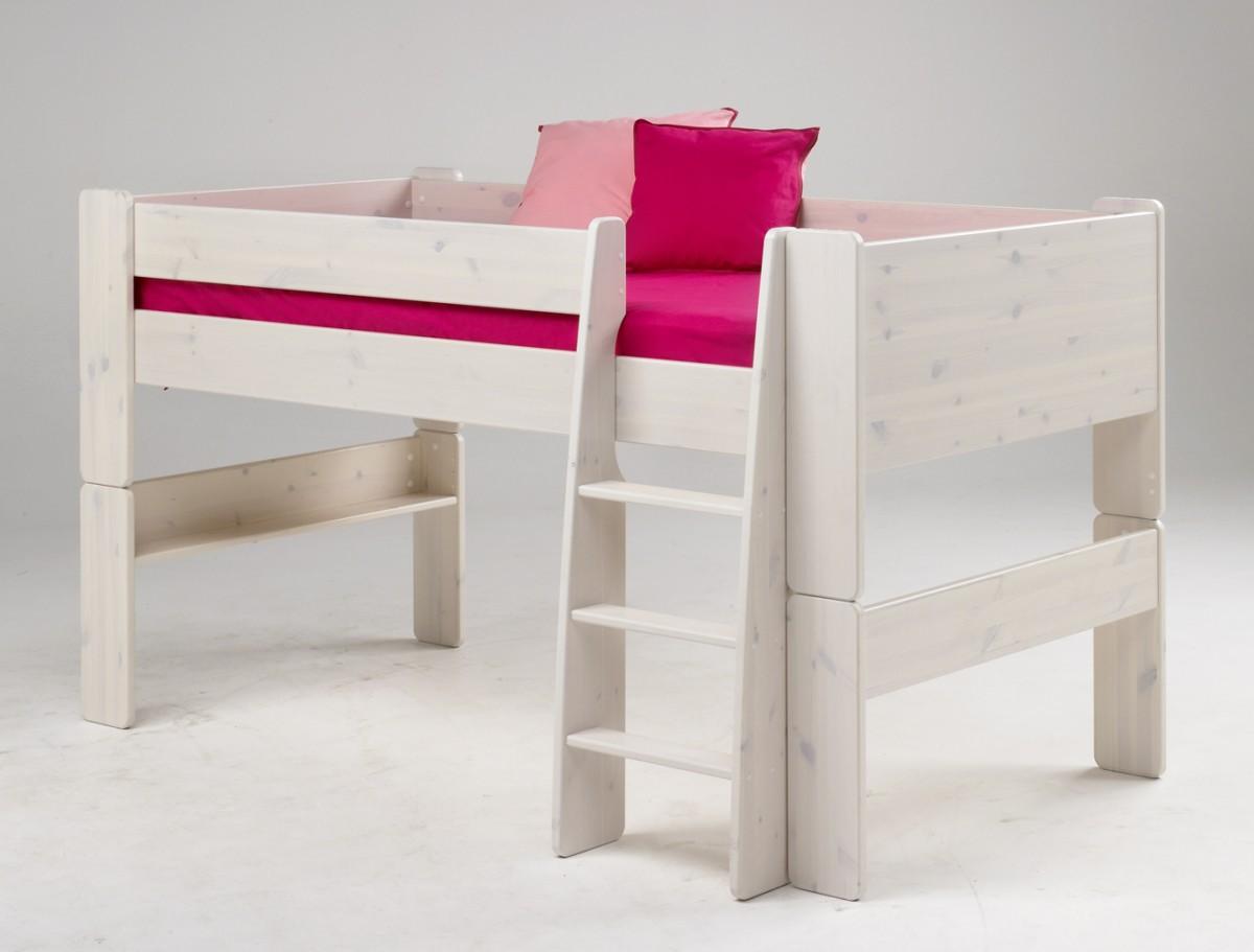 Großartig Kinderhochbett Halbhoch Ideen Von Bett Kinderbett Hochbett Jugendbett Kiefer Massiv White
