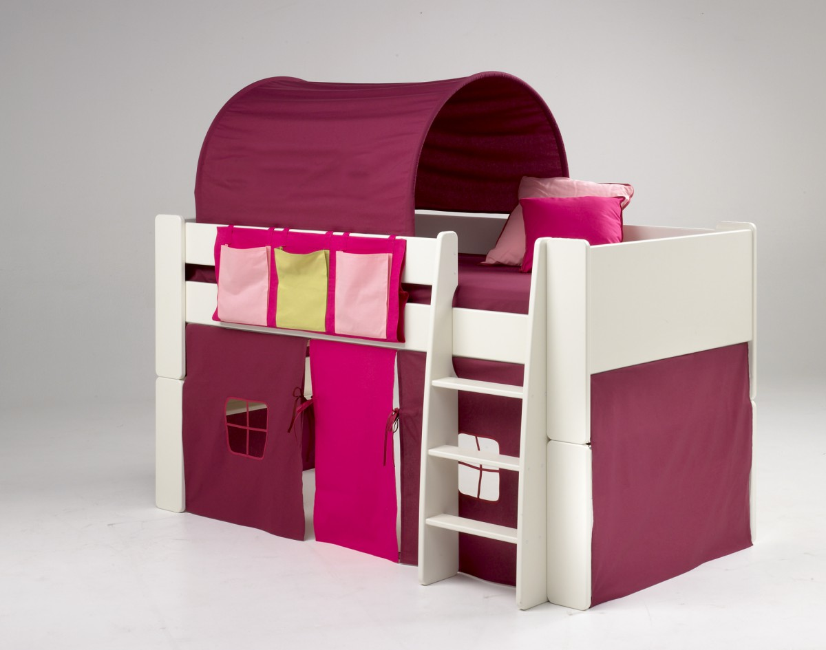 kinderbett hochbett bett tunnel vorhang lila pink mdf wei. Black Bedroom Furniture Sets. Home Design Ideas
