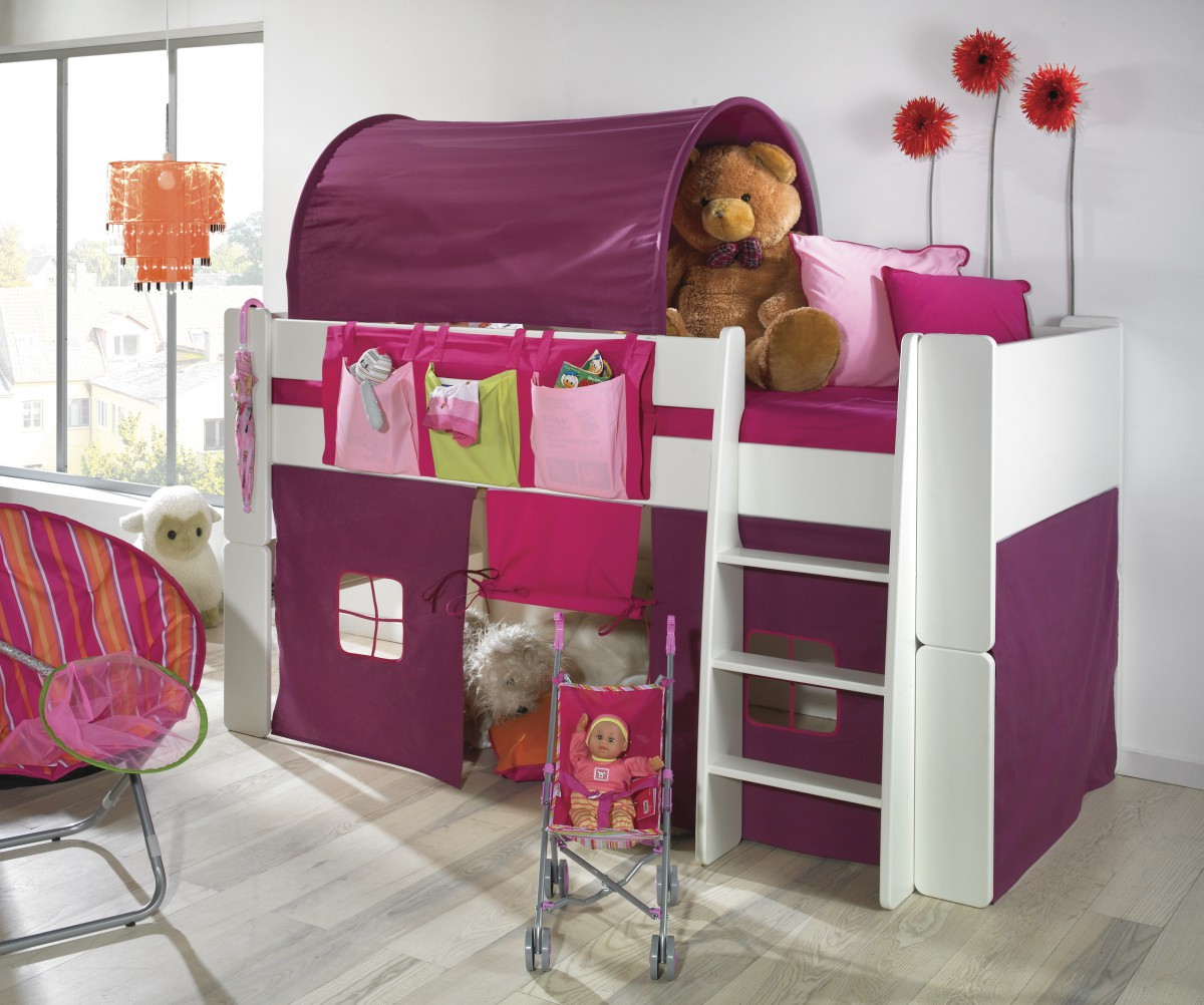 kinderbett hochbett bett tunnel vorhang lila pink mdf wei lackiert kinderzimmer baby kinder. Black Bedroom Furniture Sets. Home Design Ideas