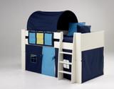 Kinderbett Hochbett Bett mit Tunnel Vorhang Blau MDF weiß lackiert Kinderzimmer