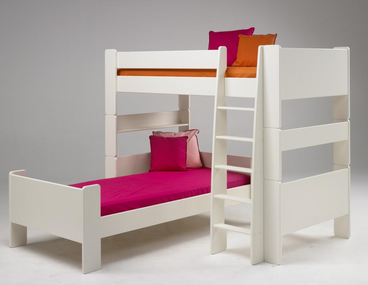 kinderbett kombi etagenbett hochbett einzelbett kinderzimmer mdf wei lackiert baby kinder. Black Bedroom Furniture Sets. Home Design Ideas