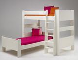 Kinderbett Kombi Etagenbett Hochbett Einzelbett Kinderzimmer MDF weiß lackiert